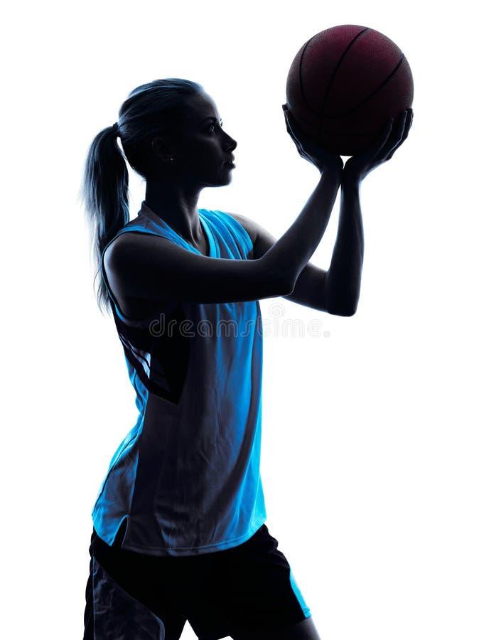 Frauenbasketball-spieler-Schattenbild stockbilder