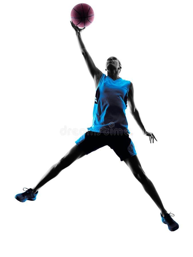 Frauenbasketball-spieler-Schattenbild stockfoto