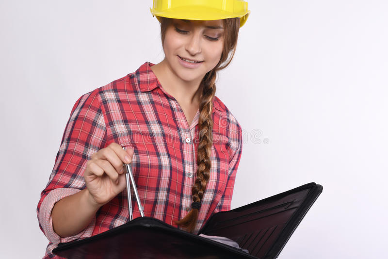 Frauenbauarbeiter stockfoto