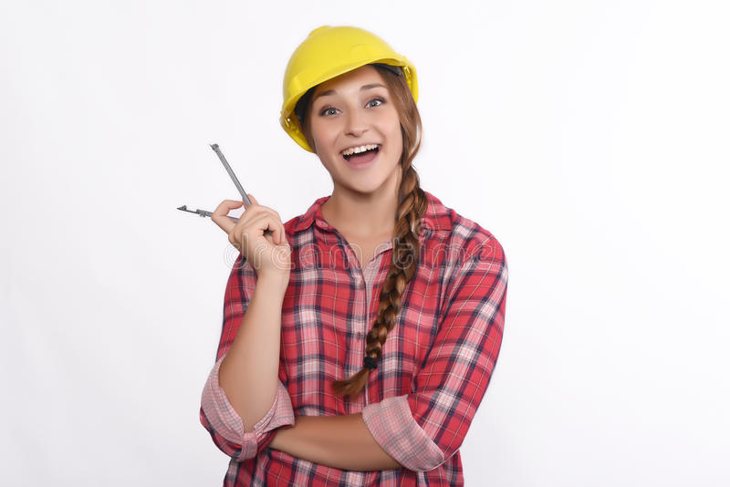 Frauenbauarbeiter stockbild