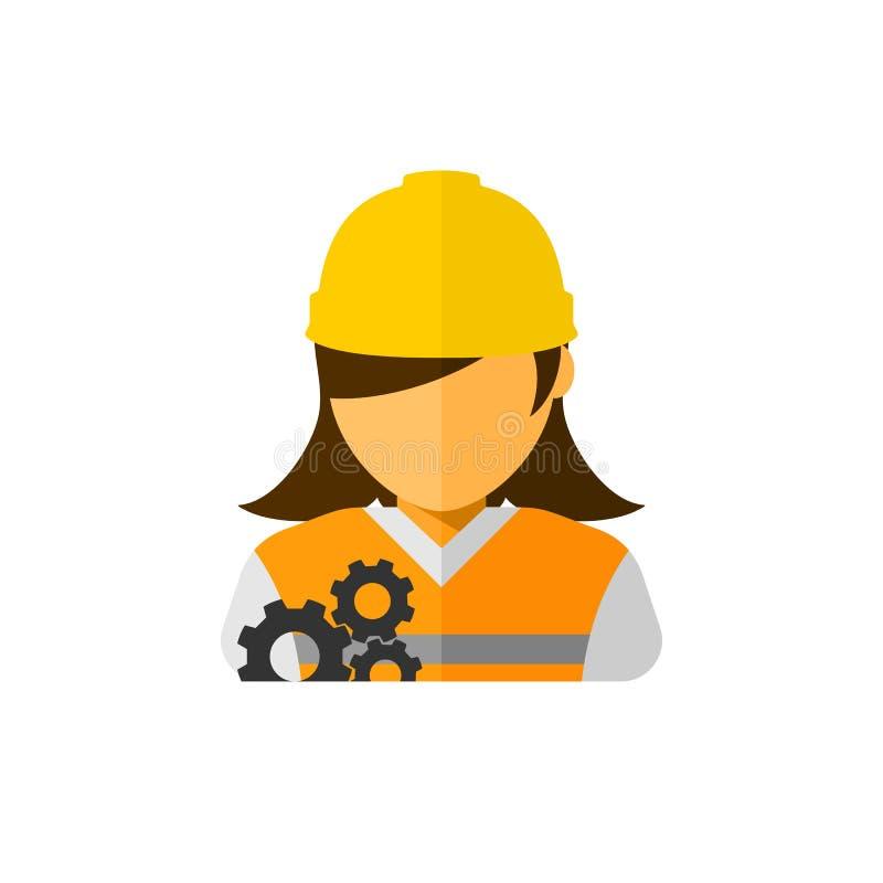Frauenbauarbeiter-Avataravektor vektor abbildung