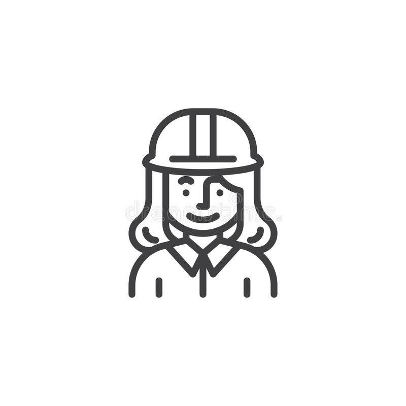 Frauenbauarbeiter-Charakterlinie Ikone lizenzfreie abbildung