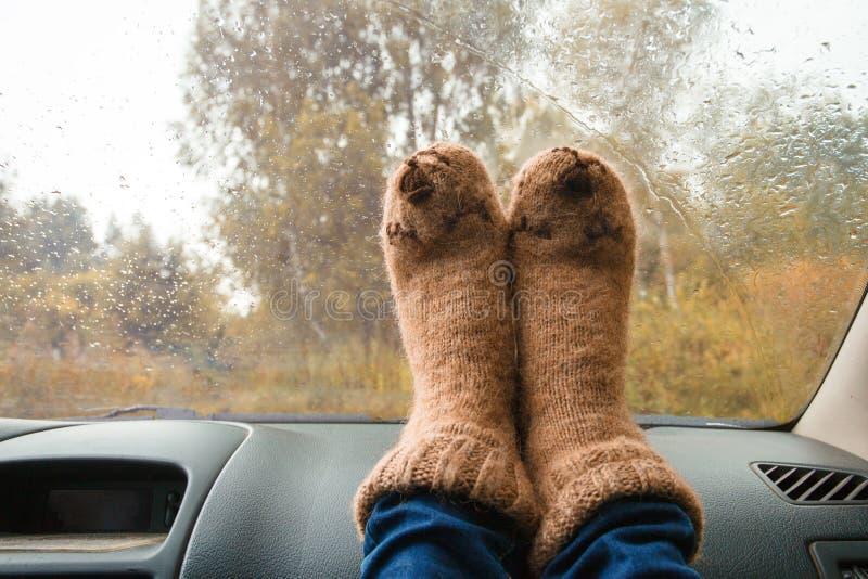 Frauenbeine in den warmen netten Socken auf Armaturenbrett Trinkendes warmes T-Stück auf dem Weg Fallreise Regentropfen auf Front lizenzfreie stockbilder
