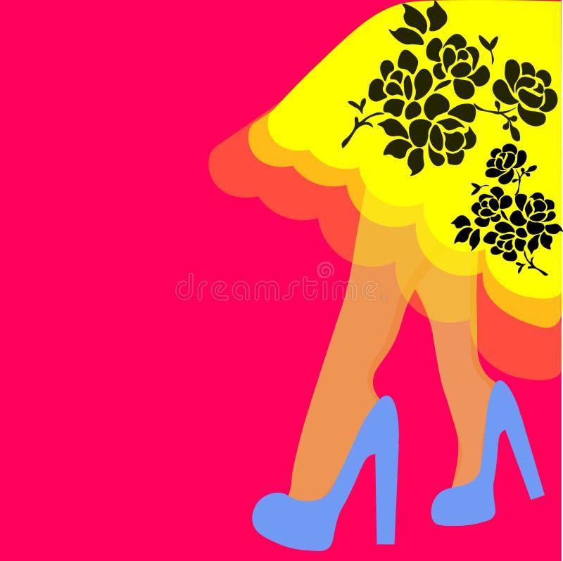 Frauenbeine im Kleiderleoparddruck Nette Handgezogene Beine in den schwarzen Schuhen auf rotem Hintergrund Schöne Mädchenschuhe A vektor abbildung
