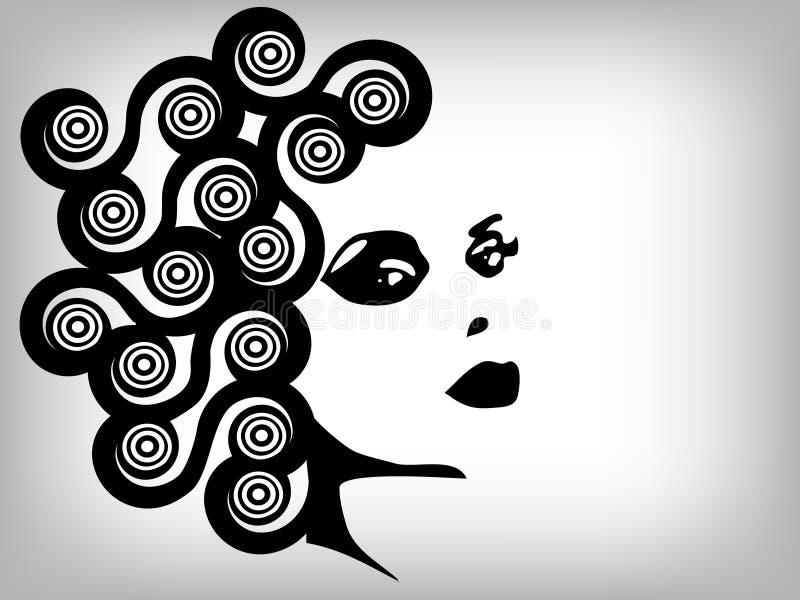 Frauenbild in der grunge Art, Art und Weisekonzept backg lizenzfreie abbildung