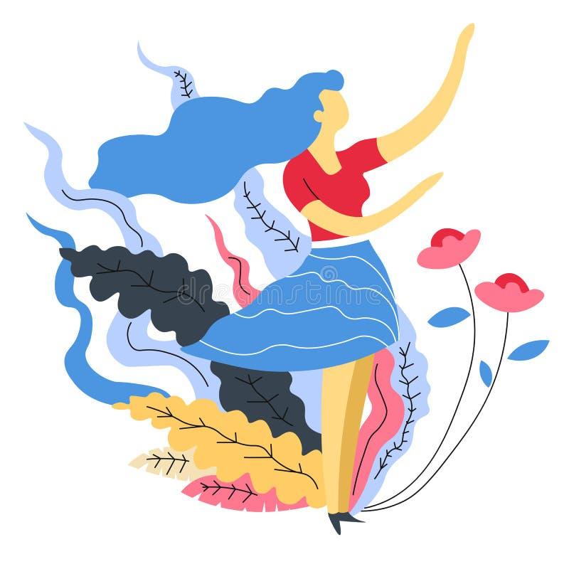 Frauenblume und Blätter Mädchen und Naturharmonie und -weiblichkeit lizenzfreie abbildung