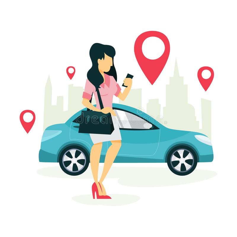 Frauenbuch ein Taxi durch einen App am Handy vektor abbildung