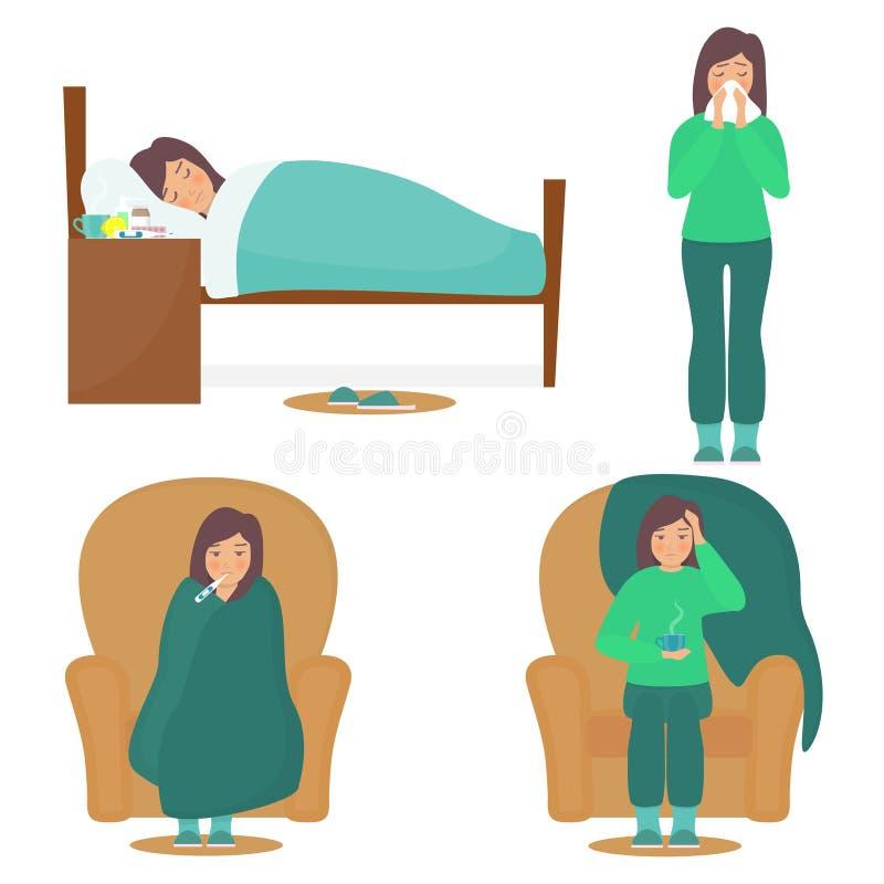 Frauencharakter, der kaltes hat Kranke junge Frau im Schlechten, auf Stuhl, mit einem Thermometer und einer Schale des heißen Get stock abbildung