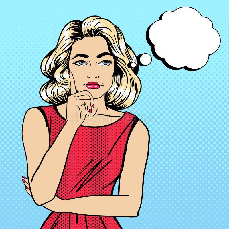 Frauendenken Frauen-Zweifel lizenzfreie abbildung