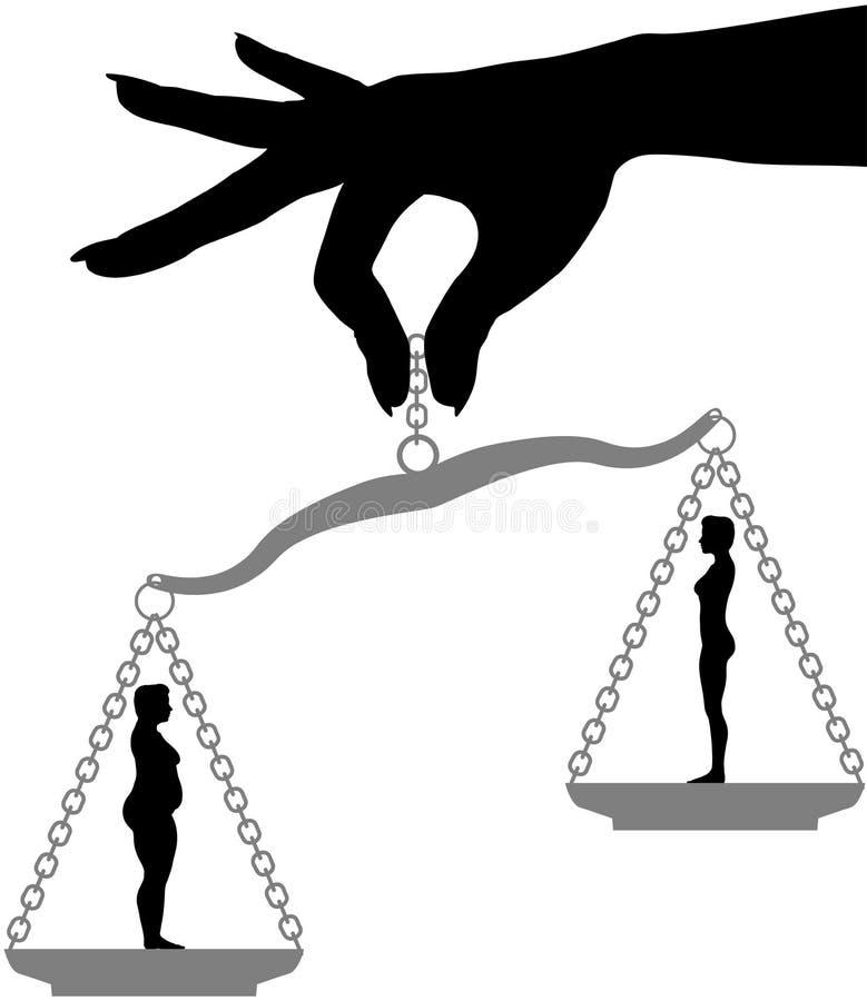 Fraueneinfluß Fett-passende Gewichtverlust Diät-Skala vektor abbildung
