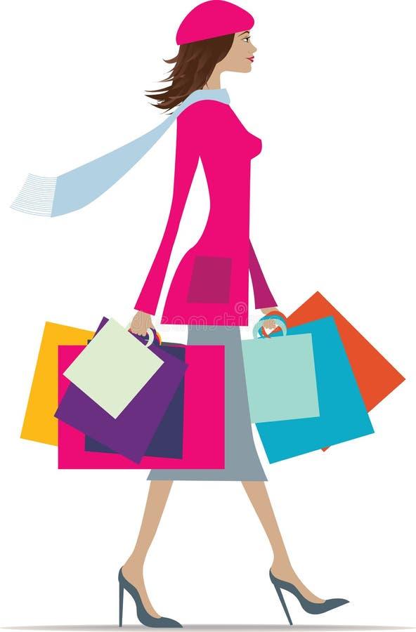 Fraueneinkaufen lizenzfreie abbildung