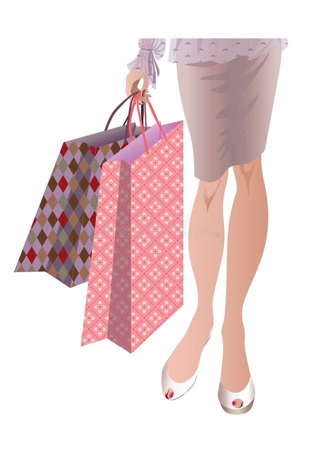 Fraueneinkaufen stockbilder