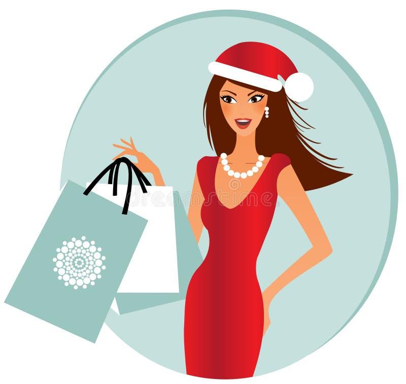 Fraueneinkaufen für Weihnachten stock abbildung