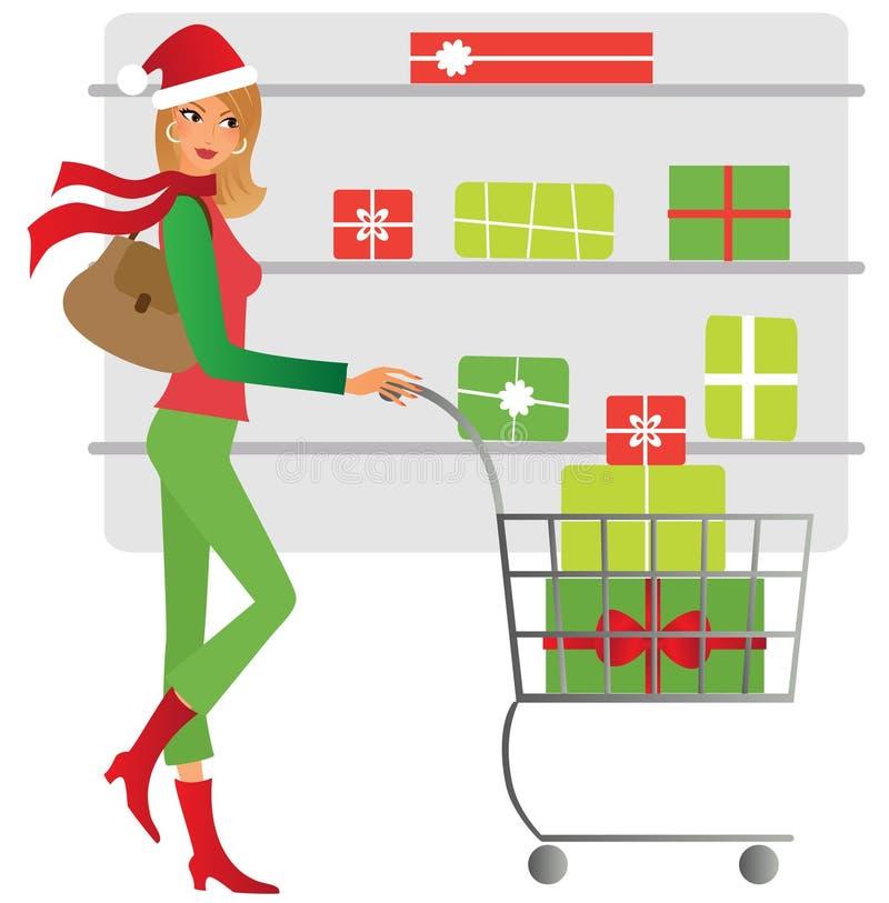 Fraueneinkaufen für Weihnachtsgeschenk lizenzfreie abbildung