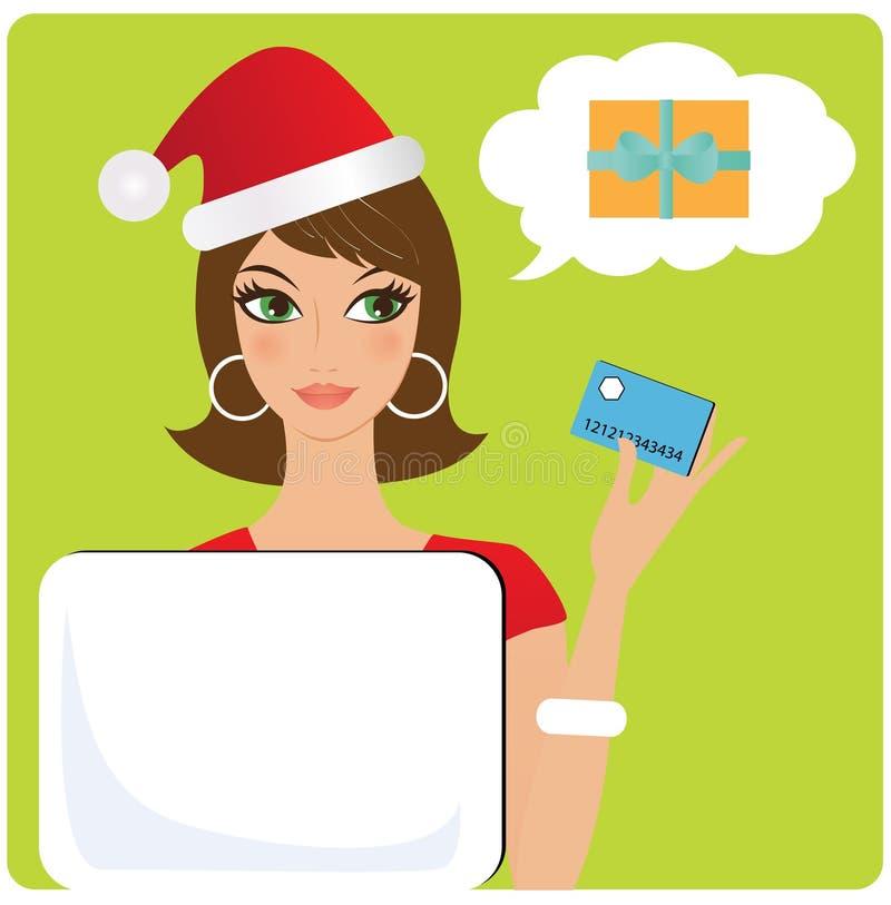 Fraueneinkaufen für Weihnachtsgeschenk vektor abbildung