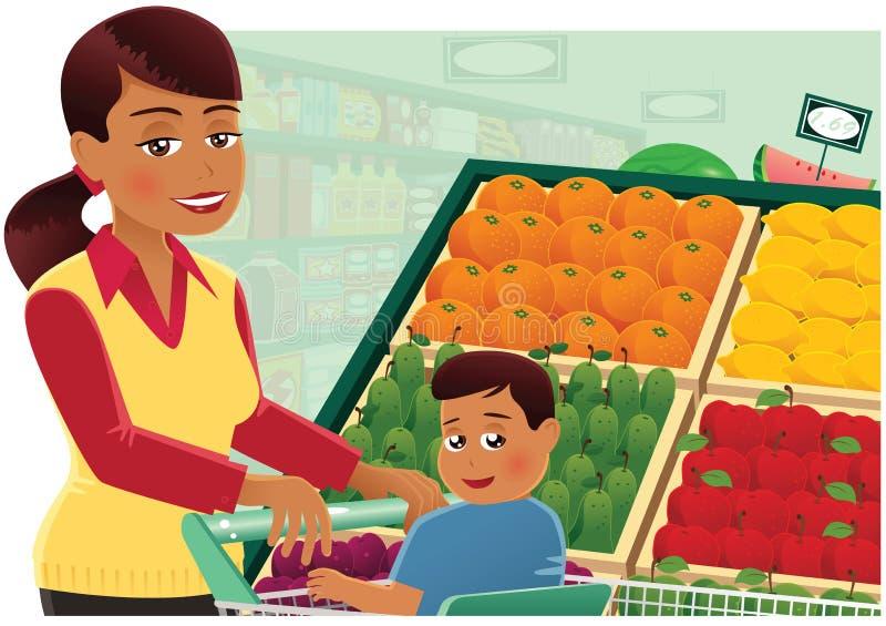 Fraueneinkaufen am Supermarkt lizenzfreie abbildung