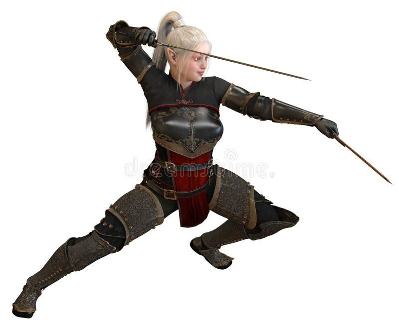 Frauenelfenkrieger mit den Klingen lokalisiert auf weißer Illustration des Hintergrundes 3D stock abbildung