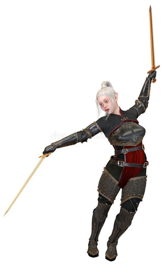 Frauenelfenkrieger mit den Klingen lokalisiert auf weißer Illustration des Hintergrundes 3D lizenzfreie abbildung