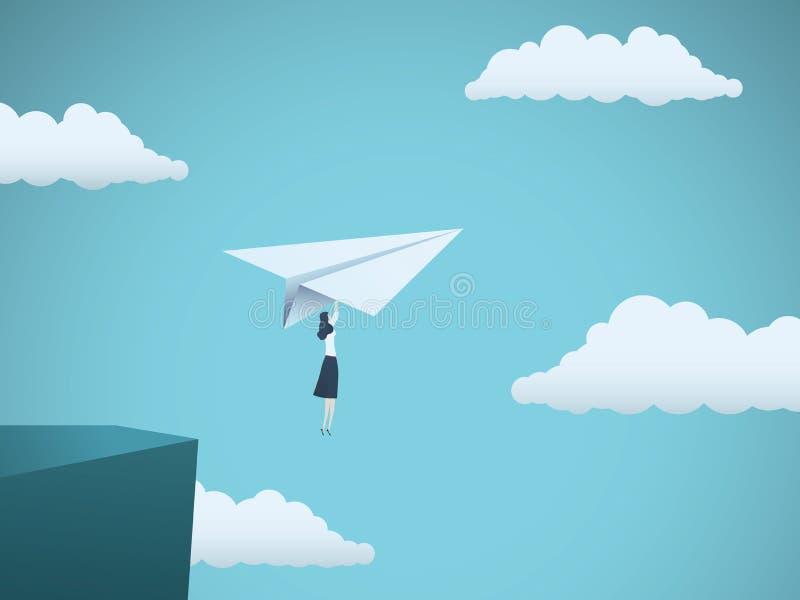 Frauenführer im Geschäftsvektorkonzept Geschäftsfraufliegen auf Papierflugzeug weg von einer Klippe als Symbol der Frauenenergie vektor abbildung