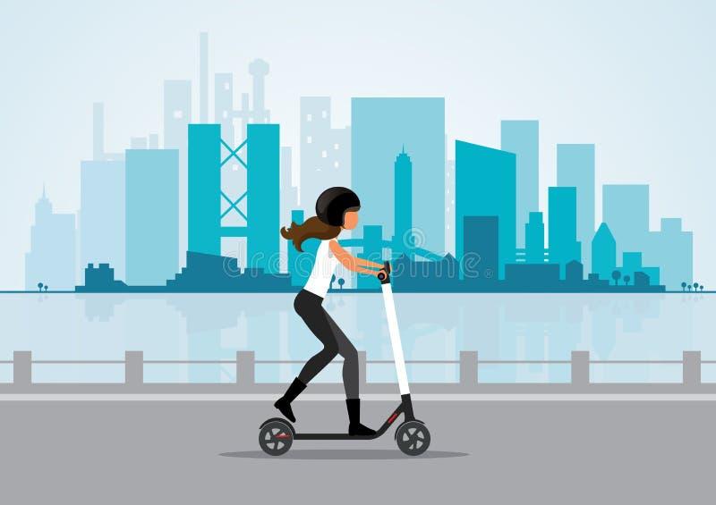 Frauenfahrelektrischer Roller in einem Stadtbildhintergrund stockfoto