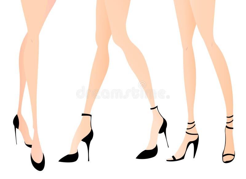 Frauenfahrwerkbeine in den Art und Weiseschuhen stock abbildung