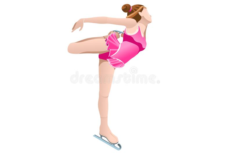 Frauenfigur-Eislauf-Drehbeschleunigung lizenzfreie abbildung