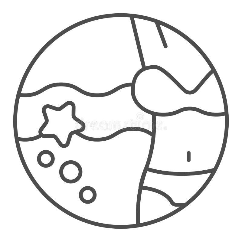Frauenfigur und dünne Linie Ikone des Strandes Ferienvektorillustration lokalisiert auf Wei? Bikinientwurfs-Artentwurf lizenzfreie abbildung