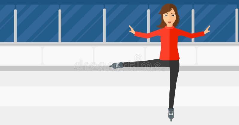 Frauenfigurschlittschuhläufer vektor abbildung