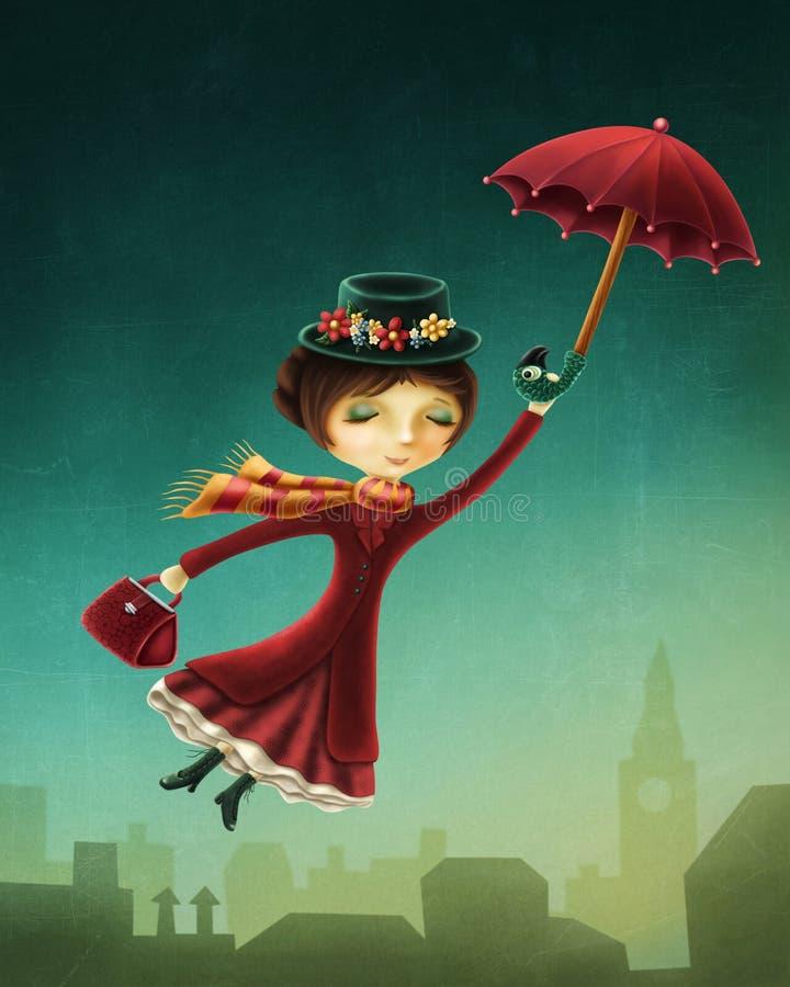 Frauenfliegen mit einem Regenschirm stock abbildung