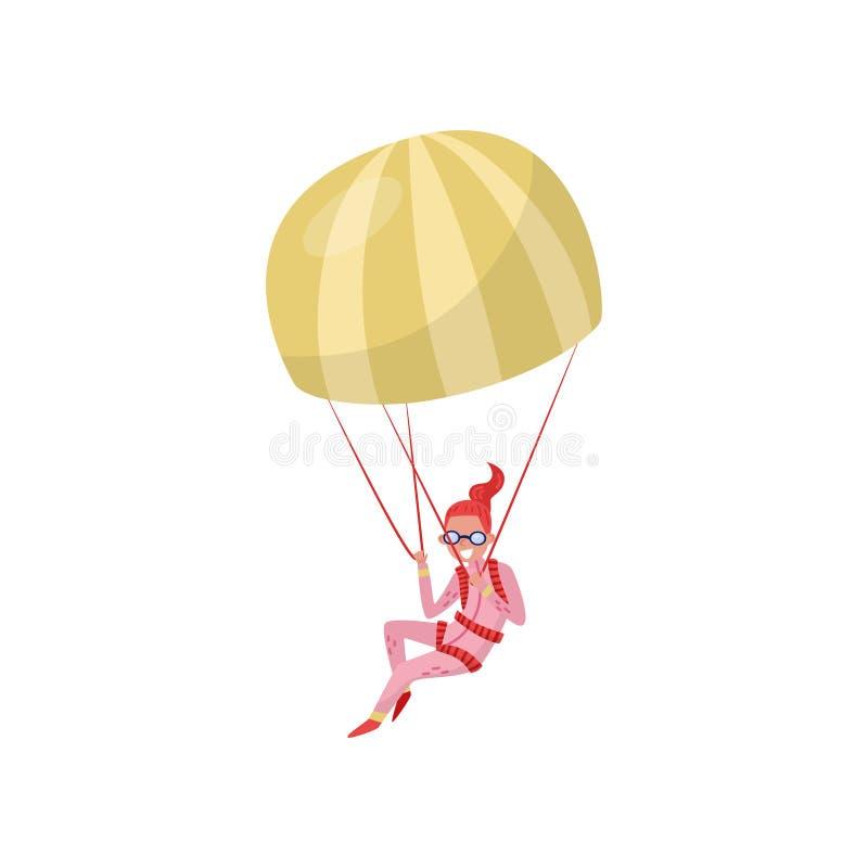 Frauenfliegen mit Fallschirm Extreme Liebhaberei Junges Mädchen in der rosa Klage und in den Schutzbrillen Im freien Fall springe stock abbildung