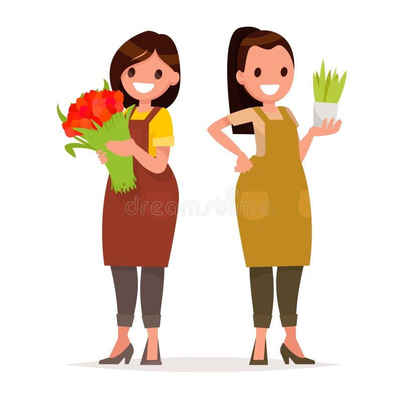 Frauenfloristenarbeitskräfte des Blumenladens Vektorillustration in a vektor abbildung
