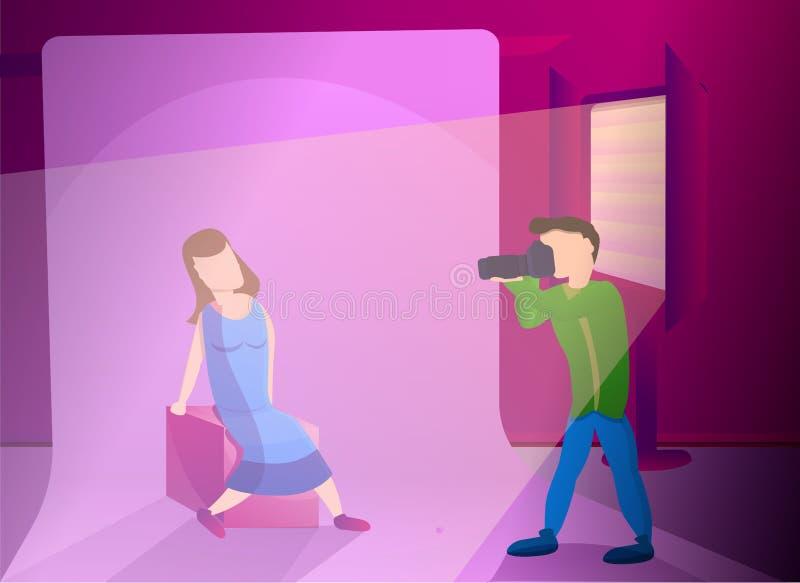 Frauenfotosessions-Konzeptfahne, Karikaturart lizenzfreie abbildung