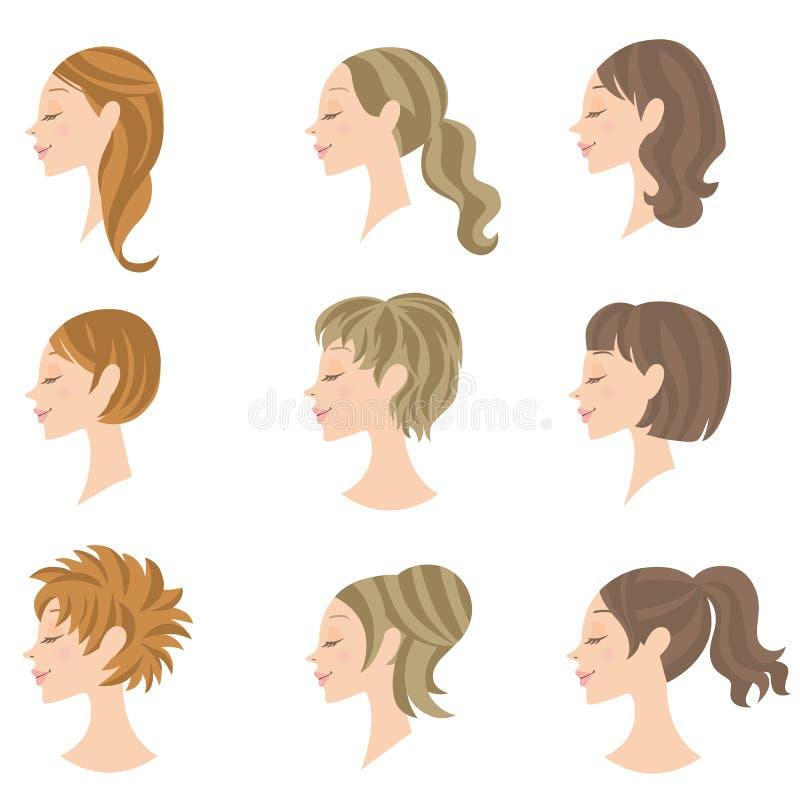 Frauenfrisur stock abbildung