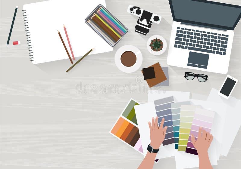 Frauenfunktion wählen eine Farbe verzieren lizenzfreie abbildung