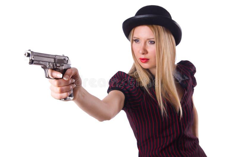 Frauengangster mit Pistole stockfoto