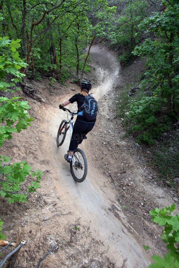 Frauengebirgsradfahrer/-s-Kurve stockfotos