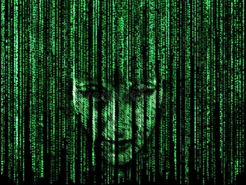 Frauengesicht im Matrixhintergrund lizenzfreie abbildung