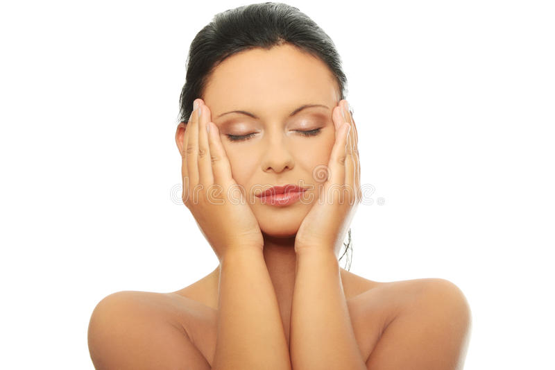 Frauengesicht mit sauberer Haut stockfotografie