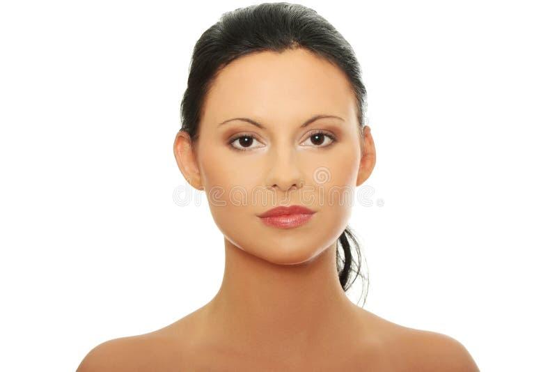 Frauengesicht mit sauberer Haut lizenzfreies stockbild