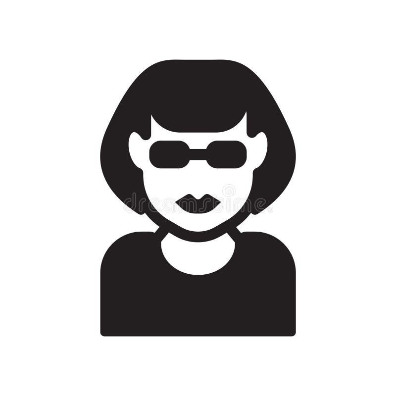 Frauengesicht mit Sonnenbrilleikone Modisches Frauengesicht mit sunglass stock abbildung