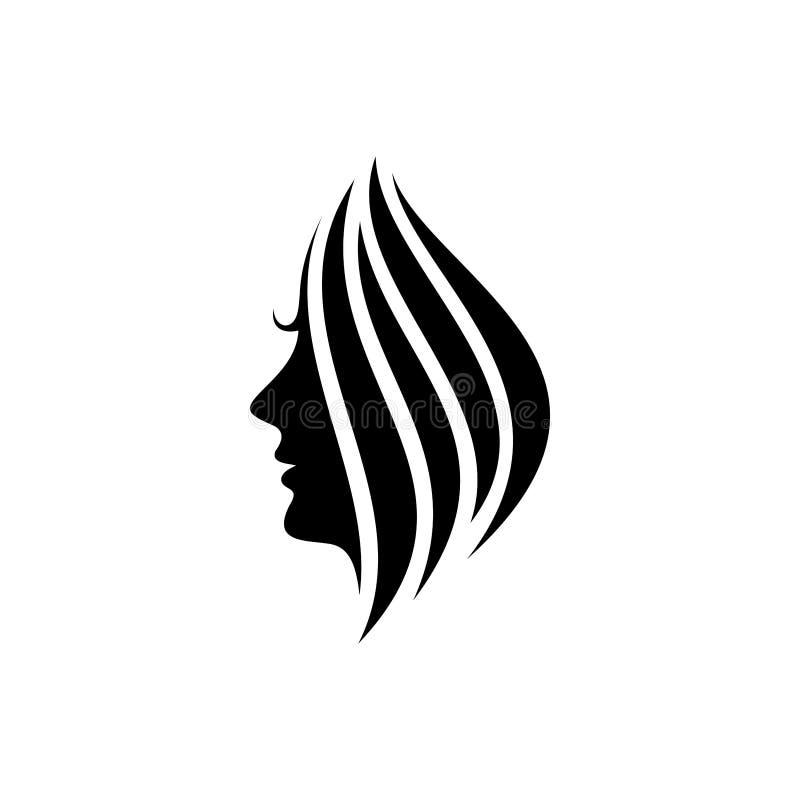 Frauengesichts-Schattenbildvektor, Schönheitslogo-Entwurfsschablone stock abbildung
