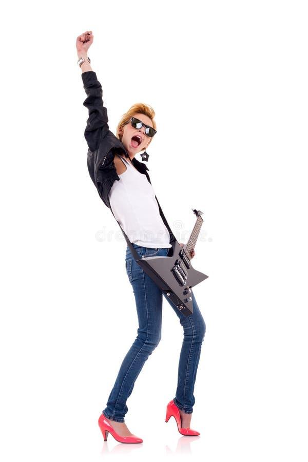 Frauengitarrist lizenzfreie stockfotos