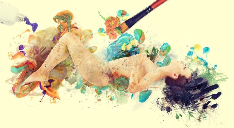 Frauengrafikbild Nackte gemalt durch Bürste stockbild