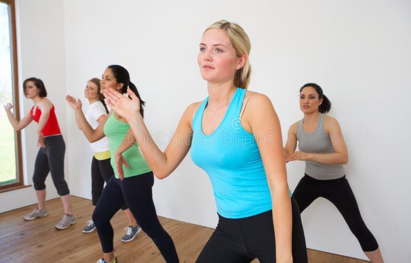 Frauengruppe, die im Tanz-Studio trainiert lizenzfreie stockfotografie