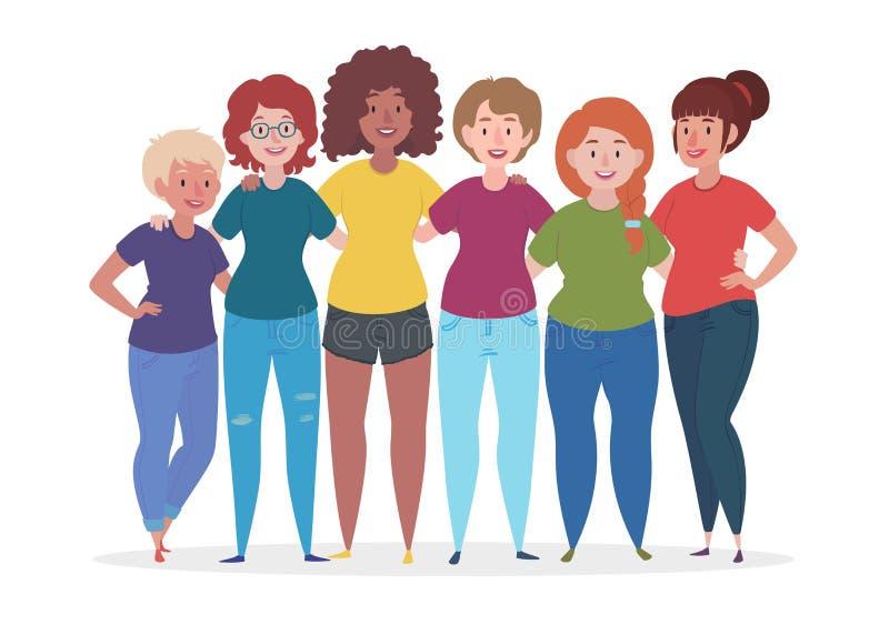Frauengruppe umarmen Frau zusammen Freundschaftsvektorillustration stock abbildung