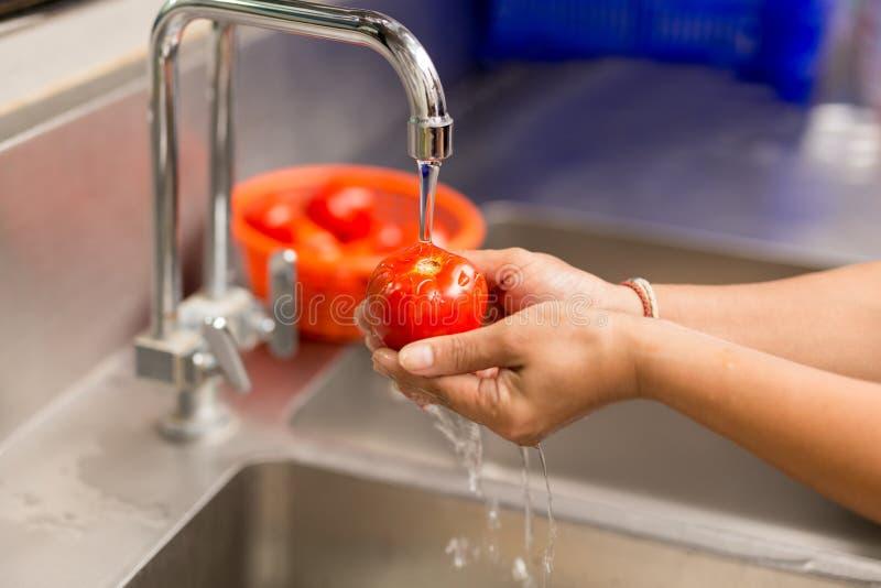 Frauenhände, die frische Tomaten unter Küche waschen stockfotos