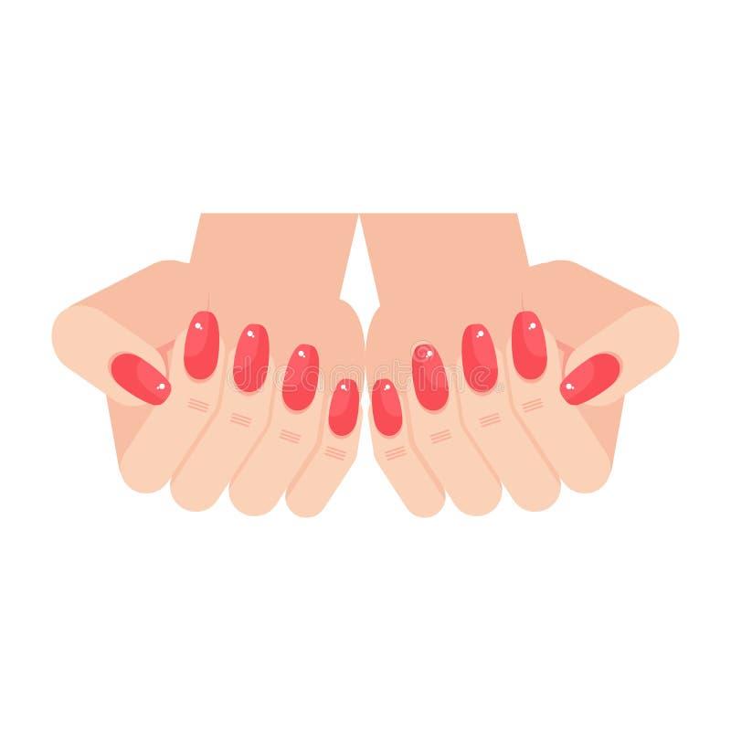 Frauenhände mit Manikürenägeln lizenzfreie abbildung