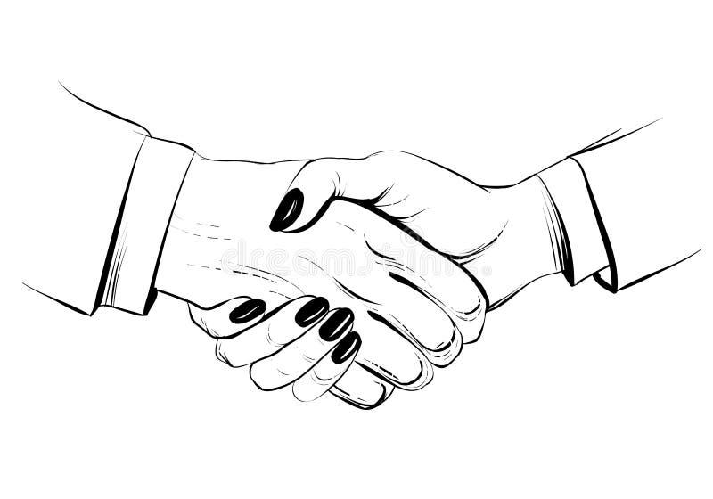 Frauenhändedruck, Hand gezeichnete Vektorskizzenillustration Geschäftsmann und Geschäftsfrau vektor abbildung