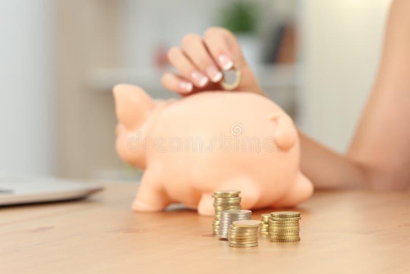 Frauenhand, die coinc in Sparschwein setzt lizenzfreies stockbild