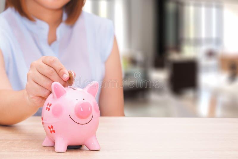 Frauenhand, die eine Münze in ein rosa Sparschwein auf hölzernem Schreibtisch setzt lizenzfreie stockfotografie